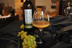 Druer og nypresset druesaft og hvidvin fra sidste års høst